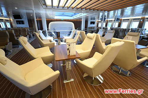 One Day Tour to Santorini from Heraklion vessel inside